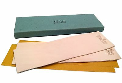 Pack of 2 Leather Honing Strop 3 inch by 10 inch with Double-Sided Adhesive Tape