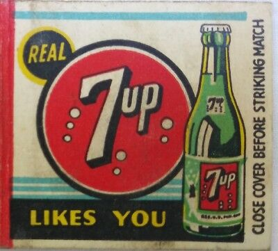 Vtg Real 7-Up Cola Likes You Peacock Take Some Home Advertising Matchbook Cover