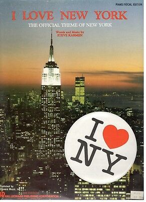 Steve Karmen I Love New York Sheet Music Official Theme Piano/V/Chords-1977-New