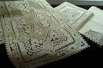 Antique Hand Embroidered 17 pc Place Mats/Naps & Runner Set Great Wall Pattern