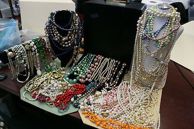 Very Large Lot Of 50+ Vintage Single,Double & Triple Large Long Beaded Necklaces