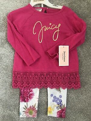 Brand New Baby Girls Designer Juicy Couture Pink Top And Floral Leggings Outfit