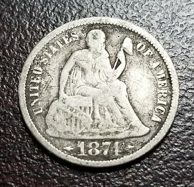 1874 10C Arrows Liberty Seated Dime Scratched