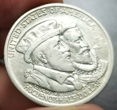 1924 Huguenot Commemorative Half Dollar Cleaned. 142,000 Minted!