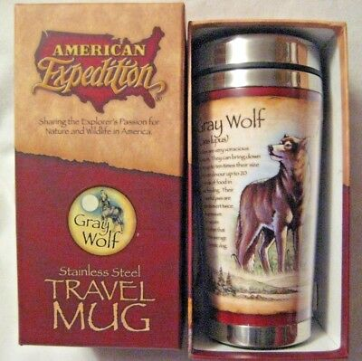 Gray Wolf Stainless Steel Travel Cup Mug Thermos American Expedition Wolves Gift