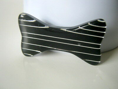 Black Lucite Brooch, Vintage Bow with stripes Brooch, Pin Brooch, Gift for Her
