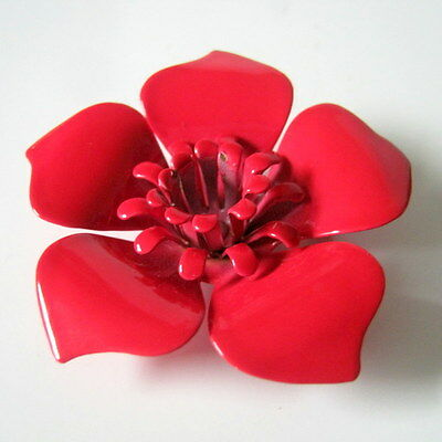 Flower Brooch, Vintage Red Painted Flower Pin Brooch, Gift for Her, Jewelry