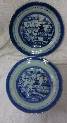 Antique Chinese Canton Ware Export Blue Willow Ming Tree Shallow Bowls