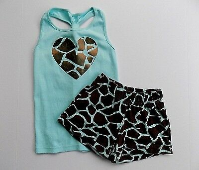 7 8 girls VGUC  Crazy 8 by Gymboree blue heart giraffe top shorts outfit A172