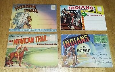 Estate Group Of Vintage Native American Fold-out Postcards. 1 stamped.