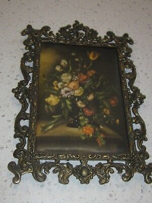 Vintage Large Square Ornate Silk Brass Picture Frame Made In Italy