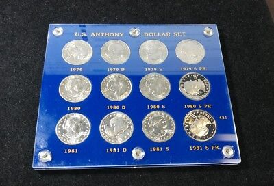 Susan B Anthony 1979 - 1981 Uncirculated & Proof Dollar Set