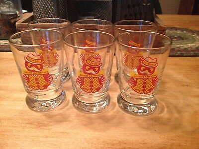 Six 1953 Vintage Squirt Glow-Ball Squirt and Whisky Glasses Squirt Advertising