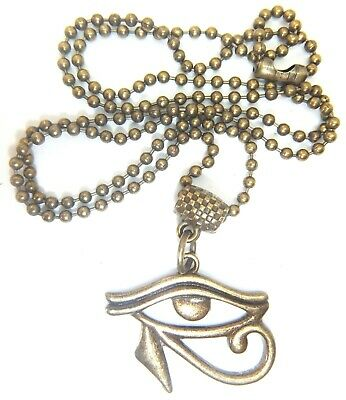 Antique Gold Egyptian Eye Of Horus On A Bronze Tone Ball Chain Gift Bag Wealth