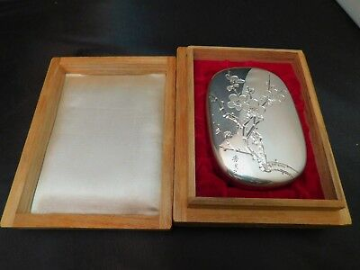 Vintage Antique Japanese Sterling SIlver Etched Cherry Blossom Flowers Case Box