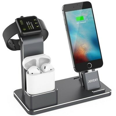 New JOYEKY Apple Watch Charge iPhone Aluminum Dock Silver Charging Station Japan