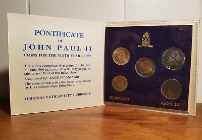 5 Vintage 1987 VATICAN City Coins Pope John Paul II MINT set ANNO IX 1987 Lira