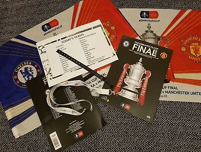 FA CUP FINAL 2018 PROGRAMME CHELSEA MAN UTD with flag, teamsheet and wristband!