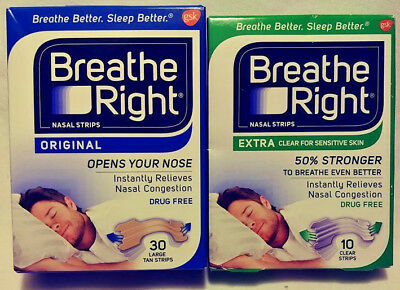 2 Pack Breathe Right Nasal Strips Clear Strips & Original Large Tan Free Ship