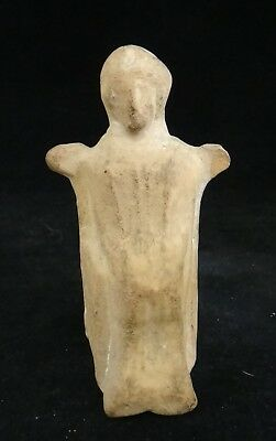 "Ancient Roman Pottery Female Figure, 1-3rd c.  3 ¾"" tall x  2"" wide."