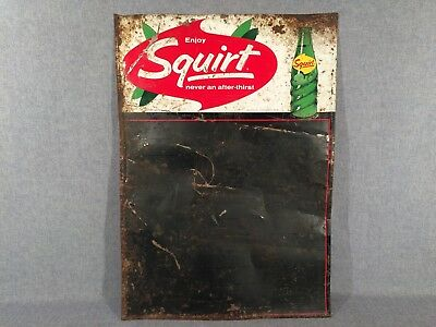 Vintage Squirt Embossed Painted Tin Sign 1964 Used M93BR Restaurant Chalkboard