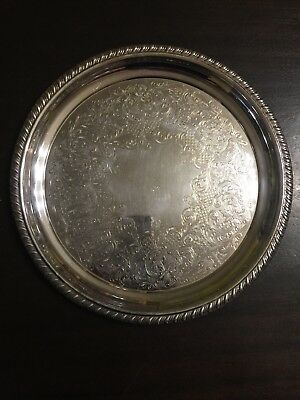 Beautiful Vintage Round Silverplate Tray made by Wm Rogers, Model 869 Rope Edge