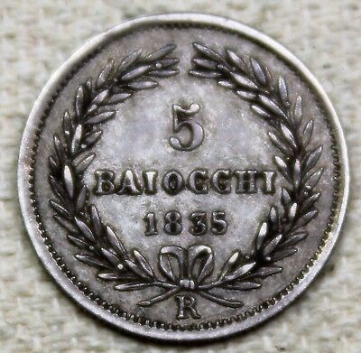 1835 Italy-Papal States-Vatican 5 Baiocchi Silver