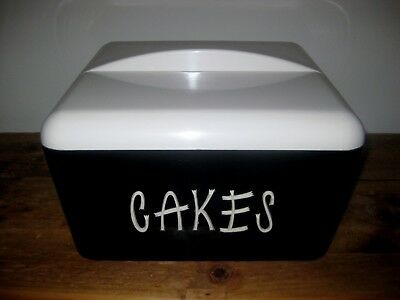 "GAYWARE "" BLACK & WHITE CAKE TIN / CANISTER*c 1950's*"