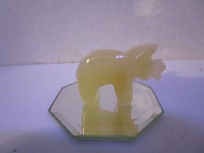 "Hand Carved Mini 1.5"" Stone African Rhino on Mirror Tile Free Shipping"