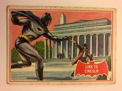 1966 Batman Scanlens Card Series A - Red Bat Set #16 Link To Lincoln 16A