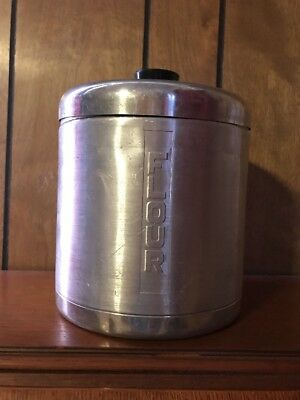 Brushed Aluminum Marked Flour Canister Vintage Collectible Black Handle