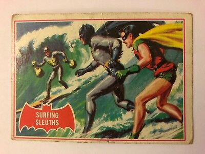 1966 Batman Scanlens Card Series A - Red Bat Set #20 Surging Sleuth 20A