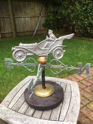 Rare Beautiful Vintage Automobile Weathervane W/directionals On Stand