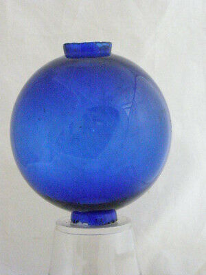 "Bright blue plain round glass lightning rod ball, 2 piece mold, 1"" hole"