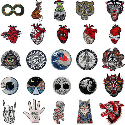 Embroidered Patches Iron Sew On transfers Badge Applique Patch ROCK Biker Unique