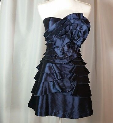 2fde370f BCBG Generation Size 6 Dress Blue Strapless Tiered Ruffle Cocktail Party  Dress
