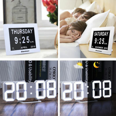 "8"" LED Large Time Day/Week/Month/Year black Dementia Digital Calendar Clock LOT"