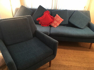 Mid Century Modern Blue 4 Seat Sofa 1950's Couch & Chair Set pick up in 94523