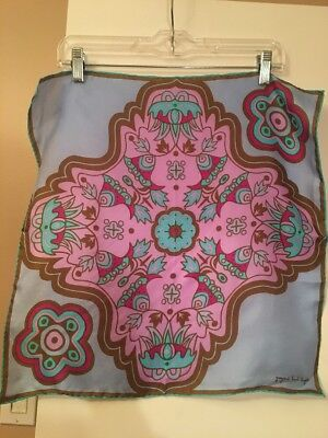 Vintage Giorgio Sant Angelo Pink Blue And Brown  Silk Fish And Flower Scarf