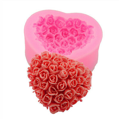 New 3D Heart-Shaped Bouquets of Roses Soap Mould Handmade Silicone Candle Mold