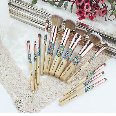 12 PC Make Up Brushes Professional Makeup Brush Set Kit Rose Gold with Black Bag