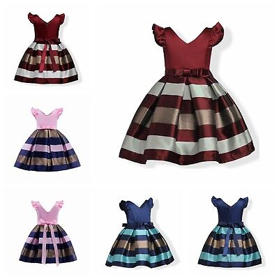 Flower Toddler Kid Girls Bow Striped Fancy Birthday Pageant Party Formal Dresses