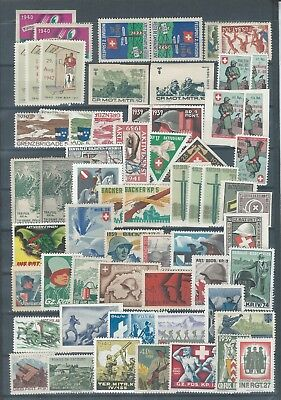 Switzerland Suisse selection of war propaganda stamps - 2 pages - cinderellas