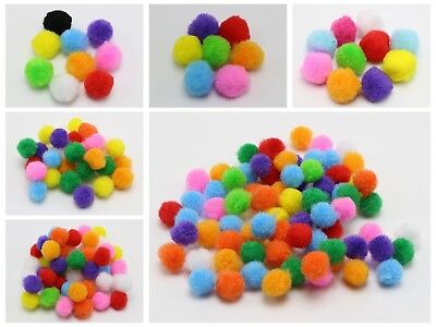 Mixed Color Soft Fluffy Pom Poms for Kids DIY Crafts Pompoms Ball Pick Your Size