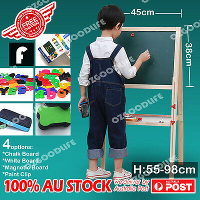 Adjustable height wooden easel 4in1 Chalk/White/Black Board,Paint Clip F ,D