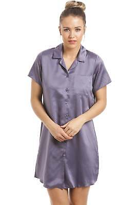 Camille Womens Nightwear Luxurious Knee Length Dark Grey Satin Nightshirt