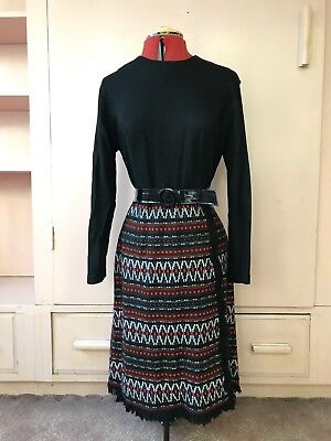 Authentic Vintage PASADENA Retro black Belted Dress Size 14 / SW pure wool