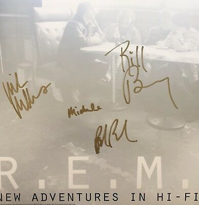 REM Promo Flat Autographed By 4 Members Michael Stipe Mike Mills Peter And Bill