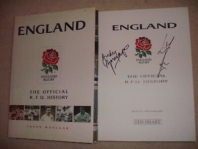 England Rugby Official Book- Signed Wc Winners Moody+Gomersall