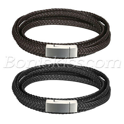 Men's Multi-circle Braided Leather Strap Stainless Steel Buckle Bracelet Cuff